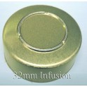 32mm Infusion Vial Seals, Gold, Pack of 100