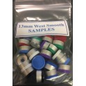 13mm West Smooth Gloss Flip Cap Sample Pack, 3 Pieces Each Color